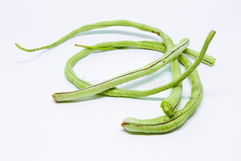 Long beans detail isolated. Long beans on white background detail isolated stock photo