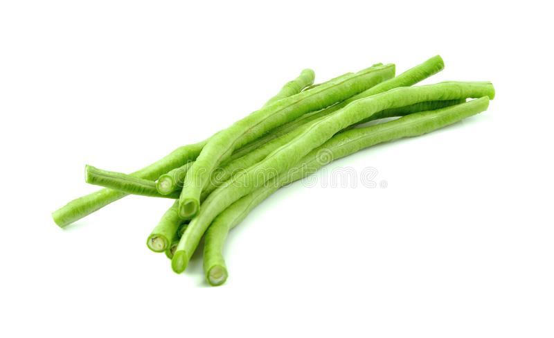 Long beans on the white background.  stock photography