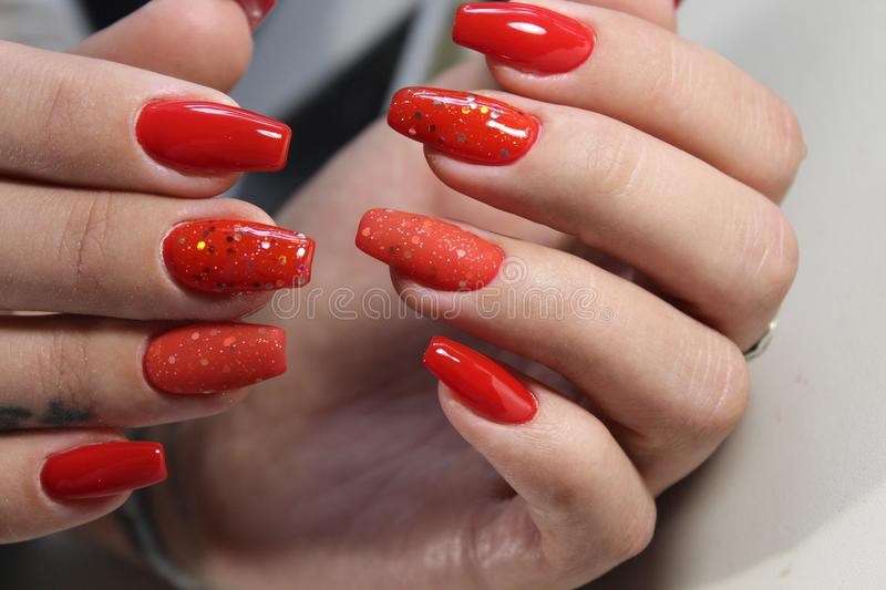 Download Long Beautiful Red Nails Stock Image Of Polish