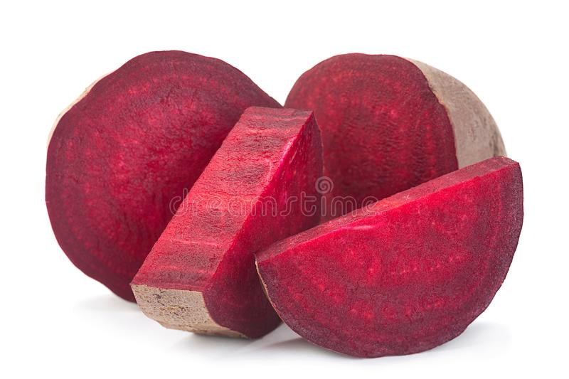 Long beet root vegetable on white. Long beet root vegetable closeup on white royalty free stock image