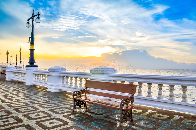 Long bench on pier royalty free stock images