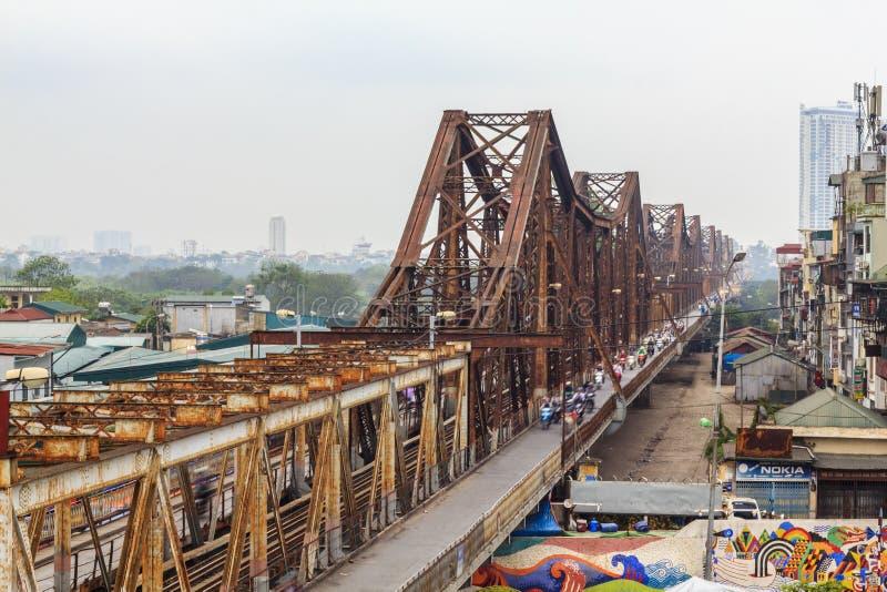 Long Bien Bridge Vietnamese: Cau Long Bien is an historic cantilever bridge across the Red River stock image