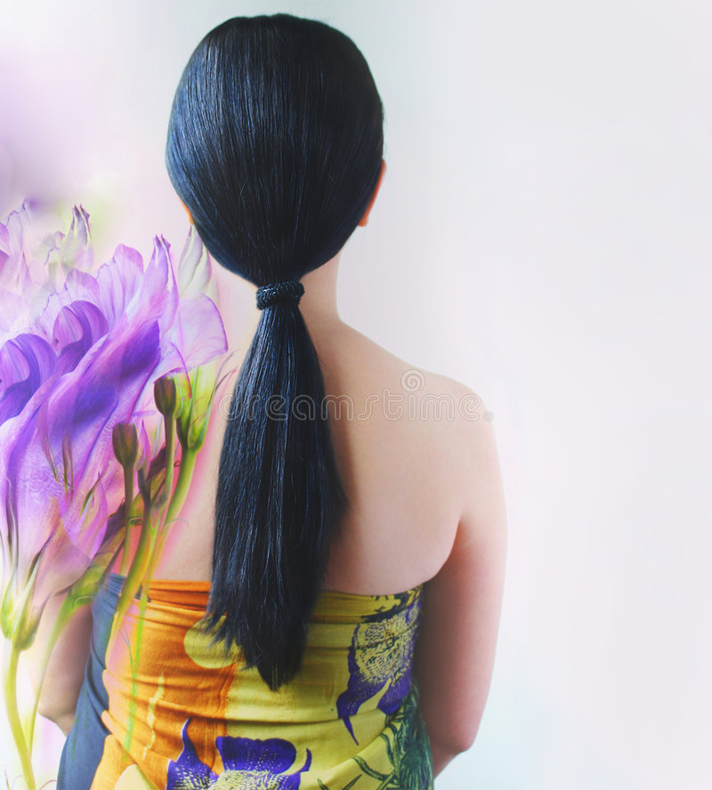 Long black hair royalty free stock photography