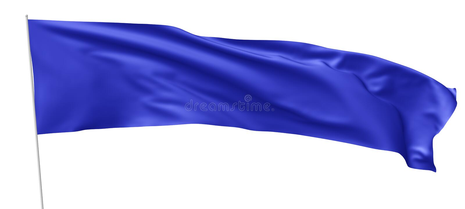 Long blue flag with flagpole waving in wind royalty free illustration