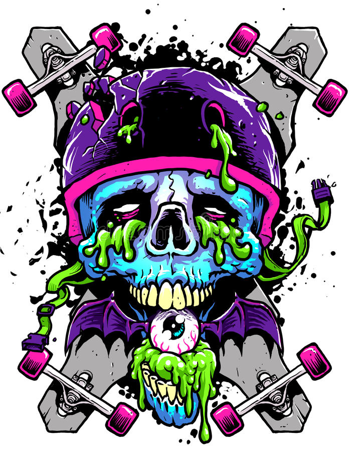 Download Long boards and Skull stock illustration. Image of wheels - 31588658