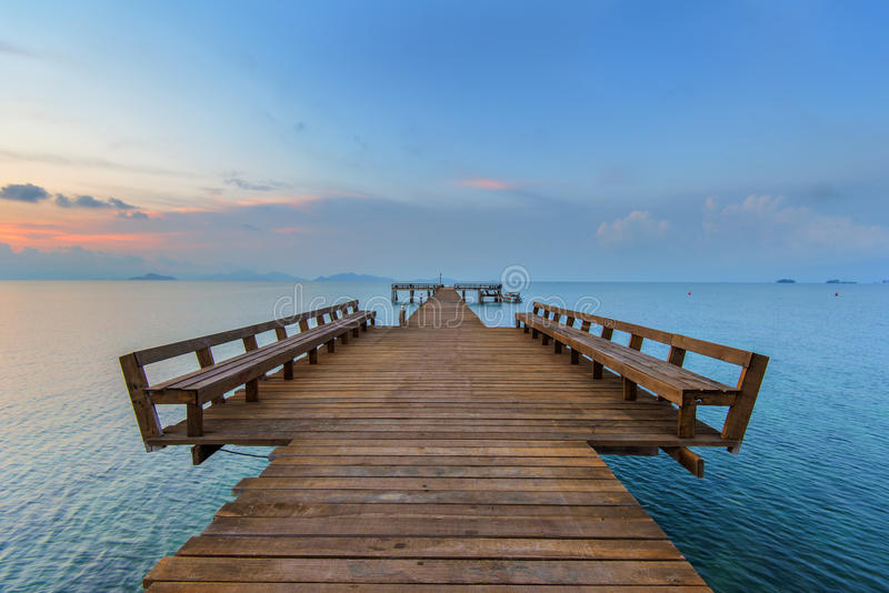 The long boardwalks to the sea stock images