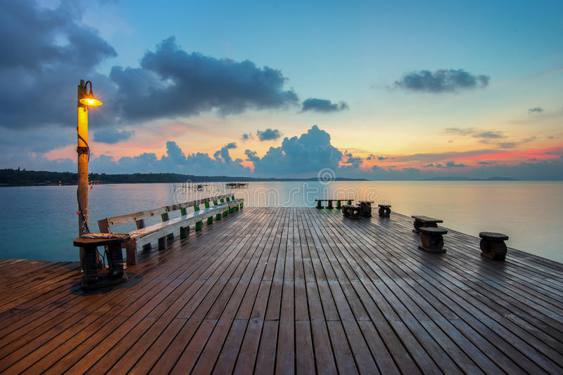 The long boardwalks to the sea stock image