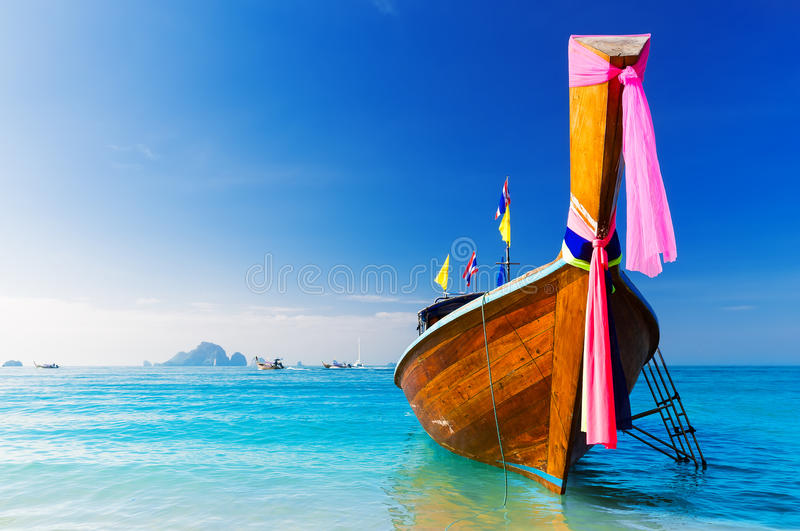 Long boat and tropical beach, Thailand stock photos