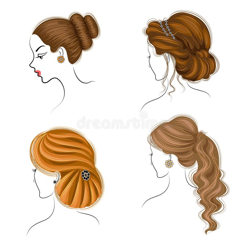 Long braids creative brown hair, isolated on white background. Hairstyles of a woman. Set of vector illustrations royalty free stock photo