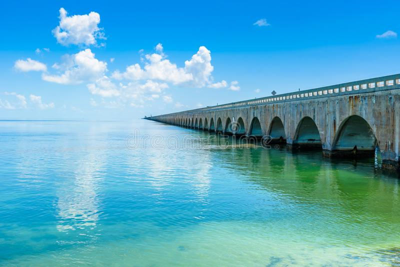 Long Bridge at Florida Key's - Historic Overseas Highway And 7 Mile Bridge to get to Key West, Florida, USA stock images