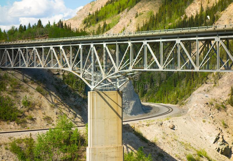 A long bridge over a canyon in alaska. A river crossing for vehicles and passage for trains as seen near anchorage in the springtime stock image