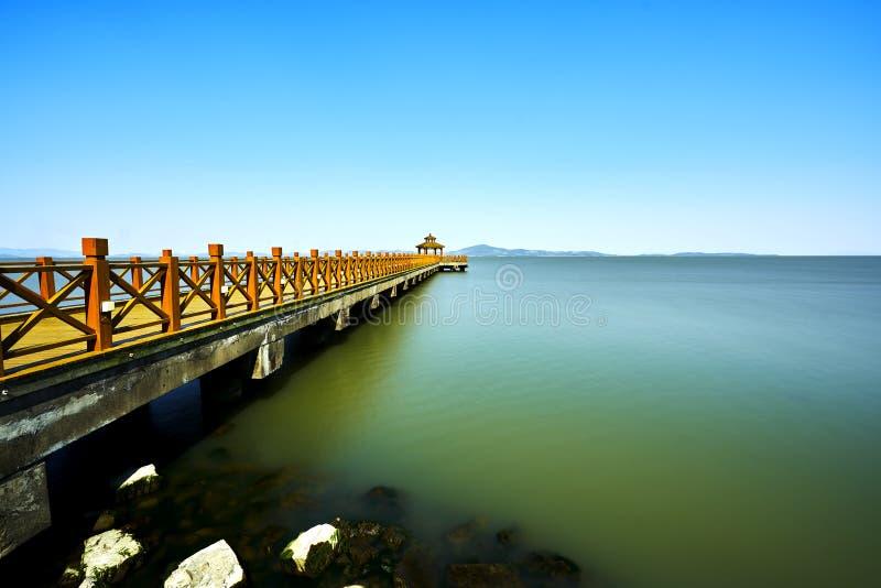 Long bridge in Taihu stock photography