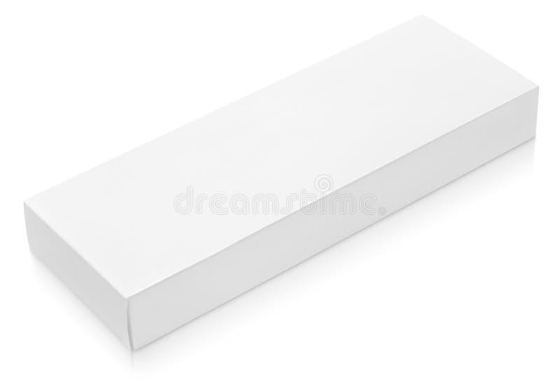 Long calibre plat de boîte en carton pour le chocolat sur le blanc photographie stock