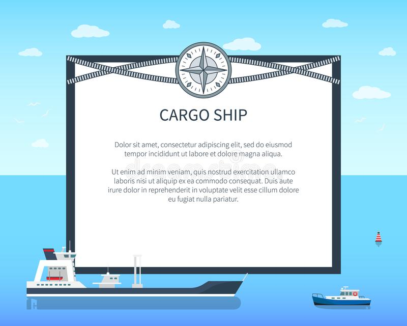 Long Cargo Ship Colorful Card Vector Illustration. Long cargo ship colorful card, vector illustration with two sea vessels, text sample, cordage rope, abstract vector illustration