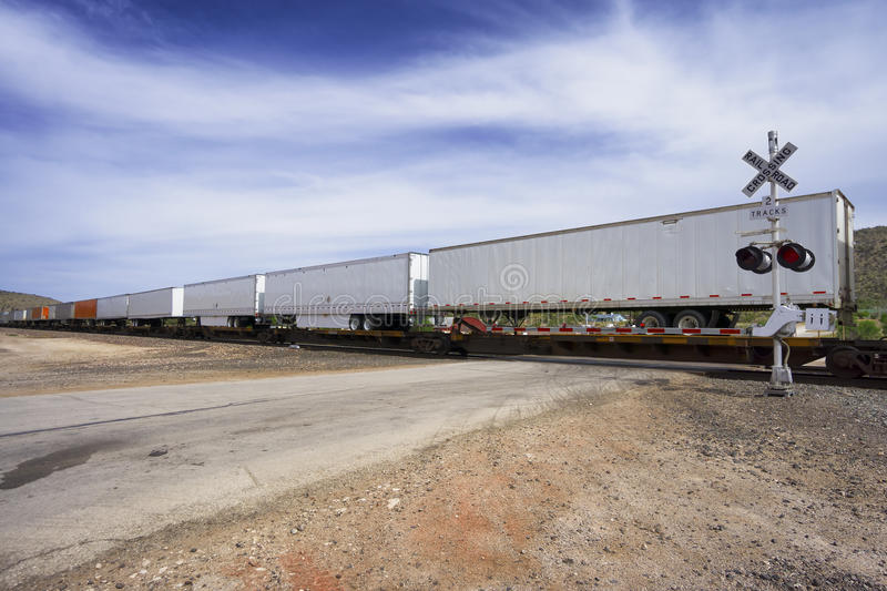 Long cargo train. Moving goods stock image