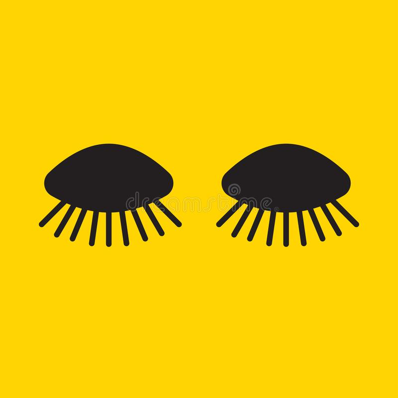 Long cartoon eyelashes vector illustration