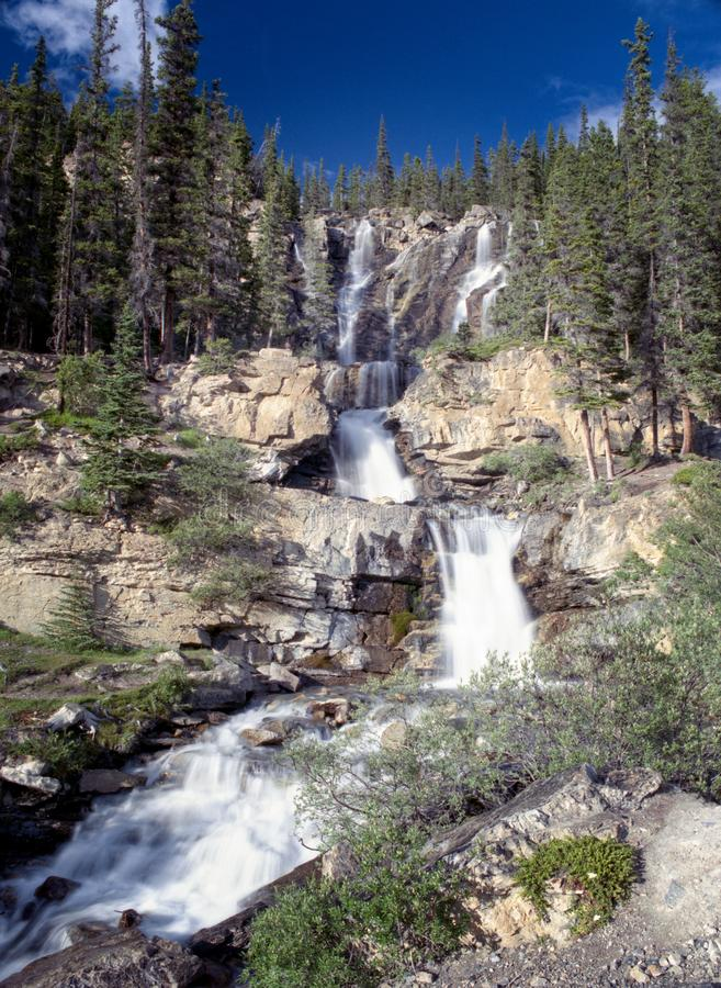 Long Cascading Mountain Waterfall stock images