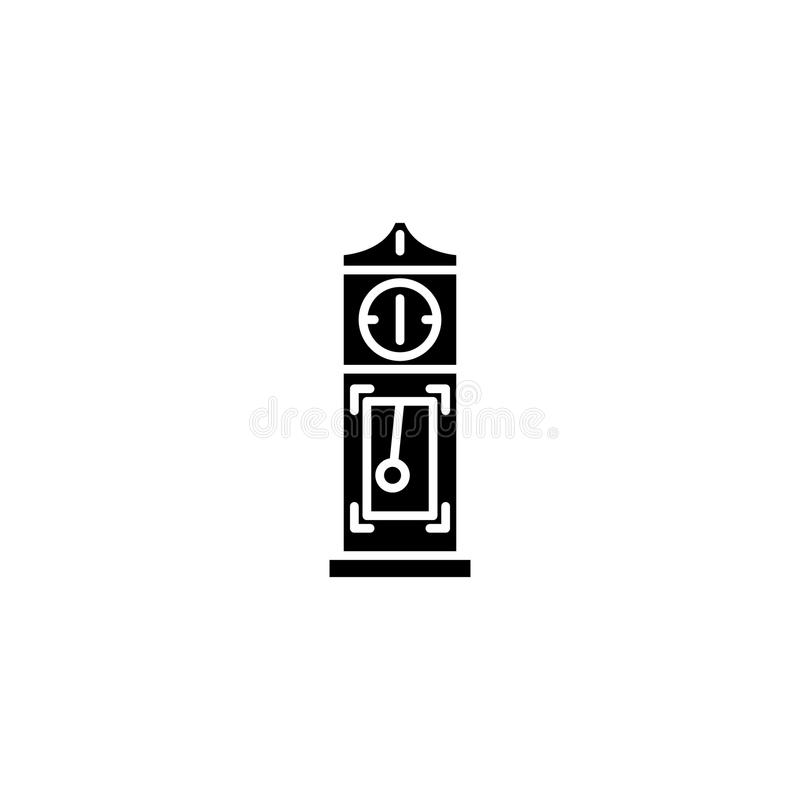 Long-case clock black icon concept. Long-case clock flat vector symbol, sign, illustration. royalty free illustration