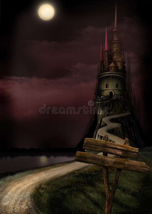 Long castle and moon vector illustration