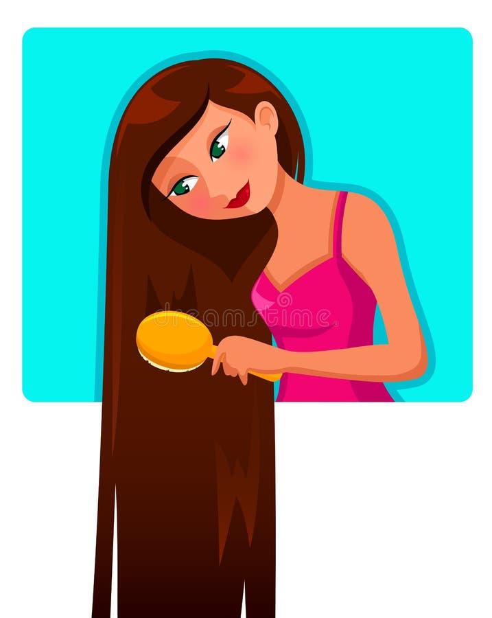 Long cheveu illustration de vecteur
