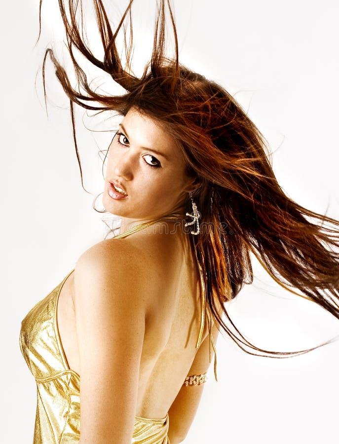 Long cheveu d'une beauté de danse photographie stock libre de droits