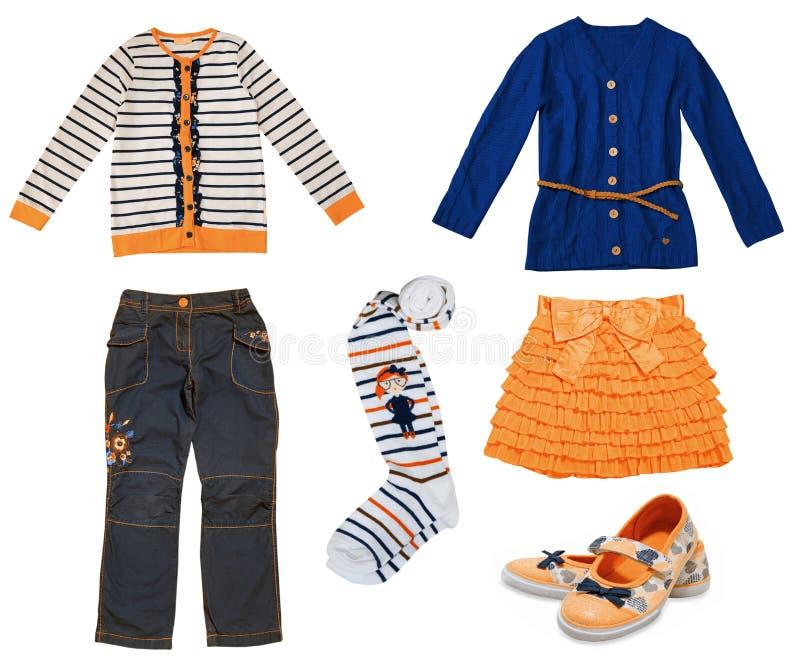 Long collage de vêtements d'enfants de douille images stock