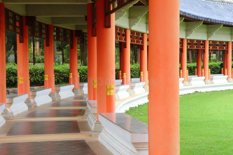 Long corridor in Chinese garden. An image of long corridor in Chinese garden stock photos