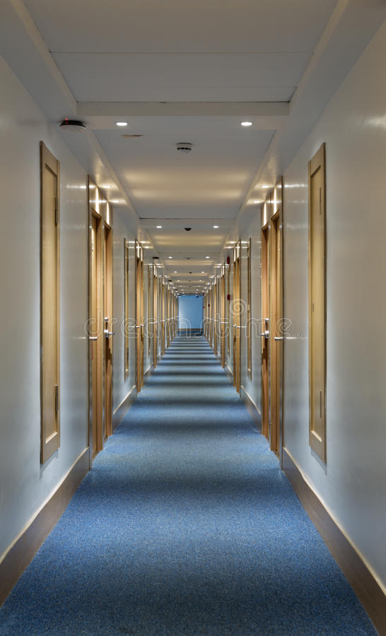 Long corridor hotel royalty free stock photo