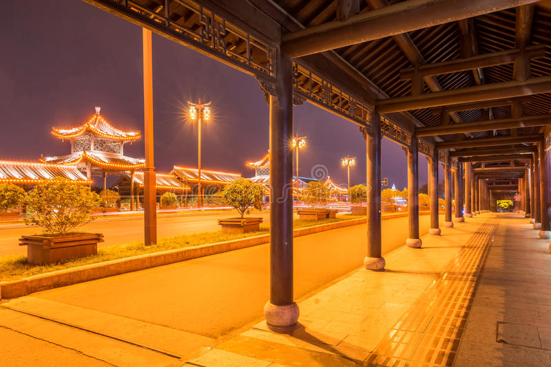 The long corridor at night. This photo was taken in Yangzhou city, china stock photos