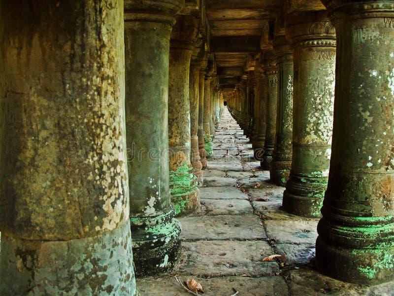 Long corridor of pillars stock photos
