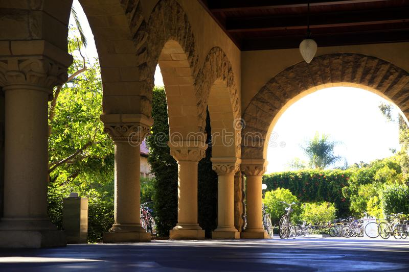 Long corridor at Stanford royalty free stock photos