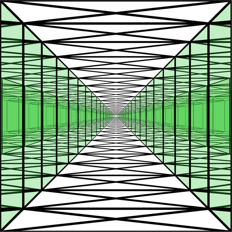Long corridor with transparent walls, geometric tunnel,perspective royalty free illustration