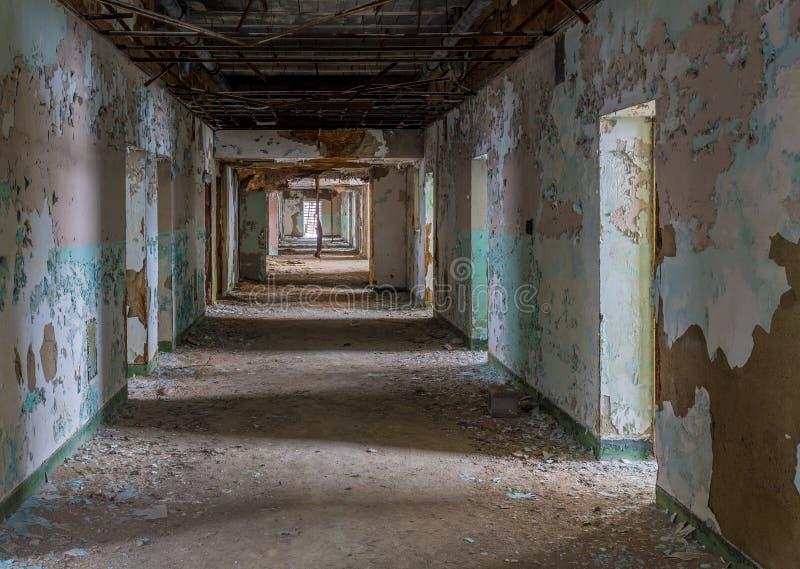 Long couloir à l'intérieur de l'asile transport-Allegheny fol photo stock