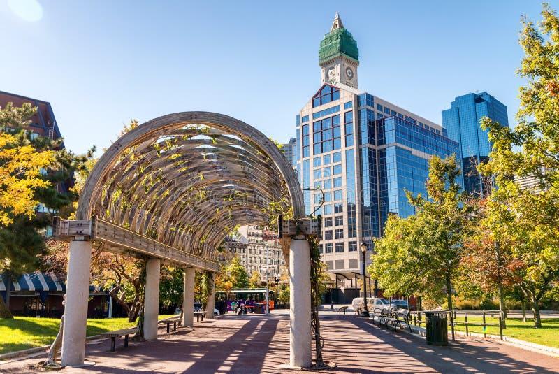 Long couloir chez Christopher Columbus Waterfront Park, Boston photos libres de droits
