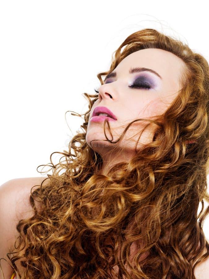 Download Long cruly hairs stock image. Image of beautiful, make - 13509107