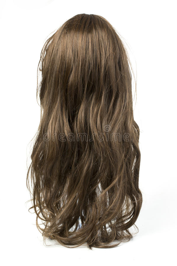 Long curly gray wig royalty free stock photo