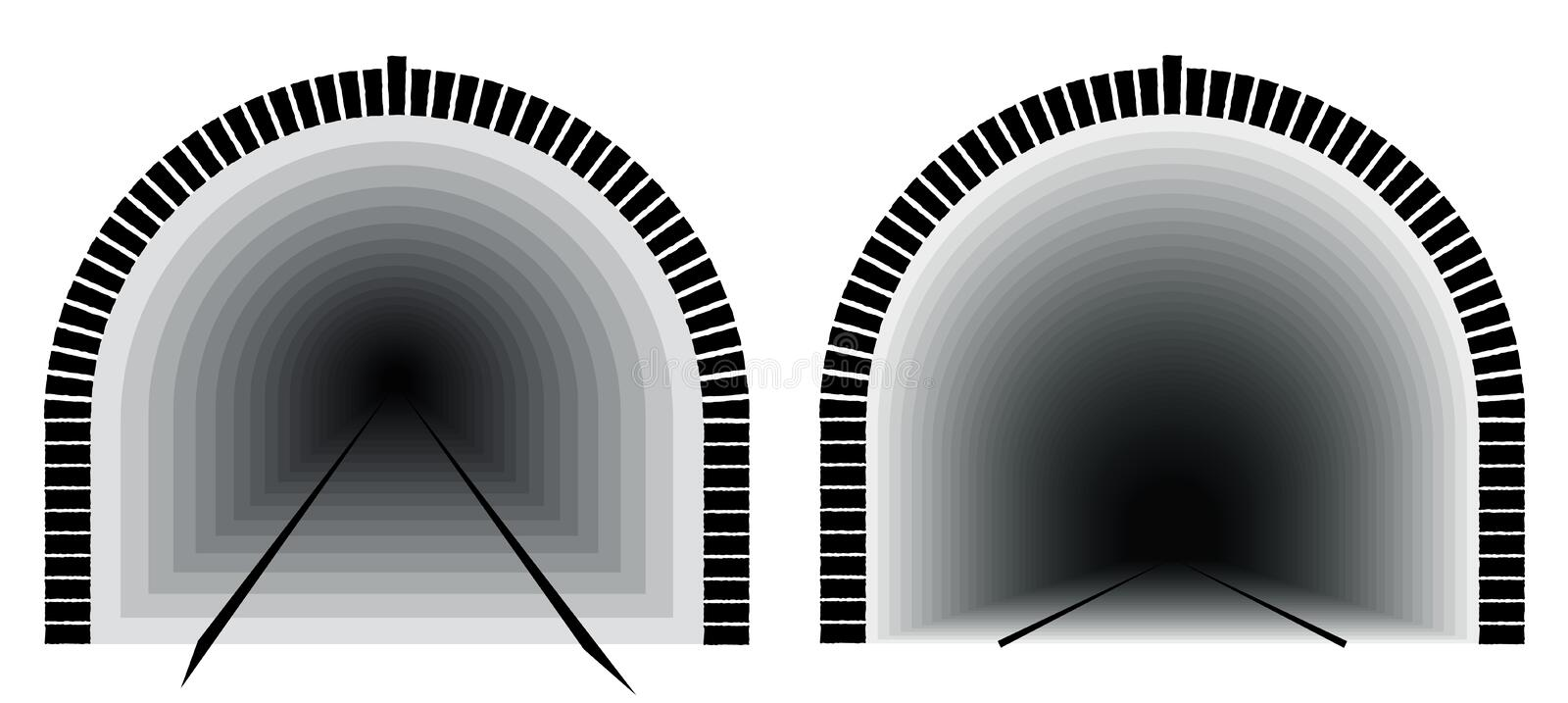 A long and deep railway tunnel. Way directly. The uncertainty lies ahead. royalty free illustration