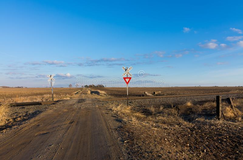 The long dirt road. Dirt road going through rural countryside in Putnam County, Illinois stock image