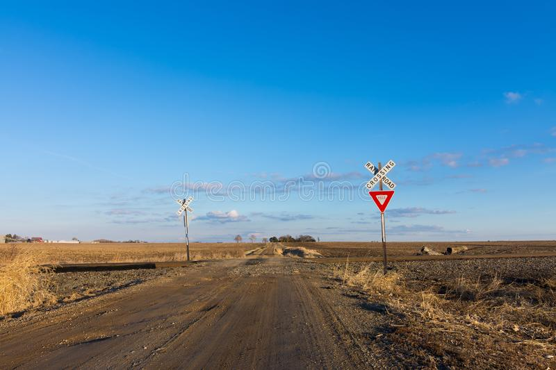 The long dirt road. Dirt road going through rural countryside in Putnam County, Illinois royalty free stock photography