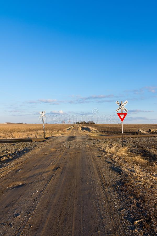 The long dirt road. Dirt road going through rural countryside in Putnam County, Illinois royalty free stock photos