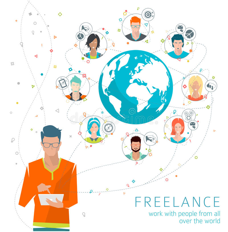 Long-distance administration royalty free illustration