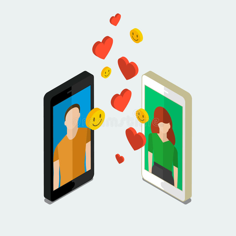 Long distance relationship. stock illustration