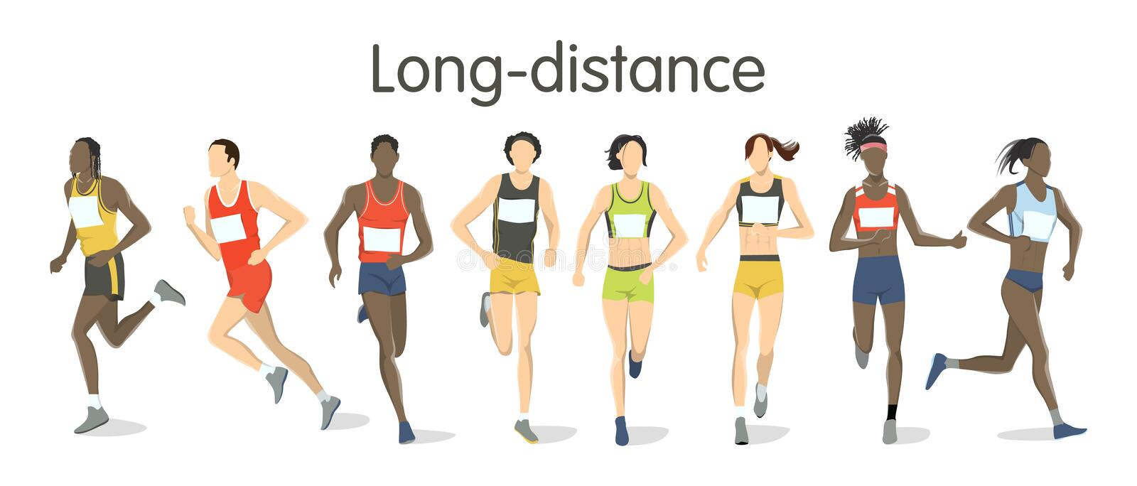 Long distance runners. royalty free illustration