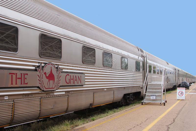 Long distance train The Ghan,Alice Springs,AUS. Public transport by long distance train The Ghan in Australia. This train is waiting at the railway station Alice stock photography