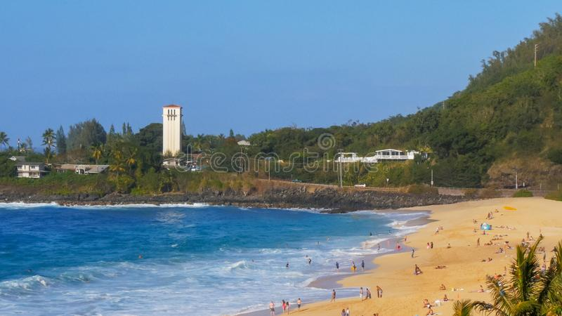 Long distance view of the beach a waimea bay royalty free stock photography