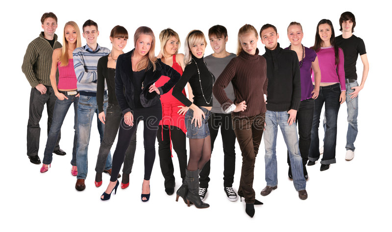 Long dozen of young people group 2. Long dozen of young people group, on white 2 royalty free stock images