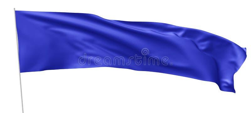 Long drapeau bleu avec le mât de drapeau ondulant en vent illustration libre de droits