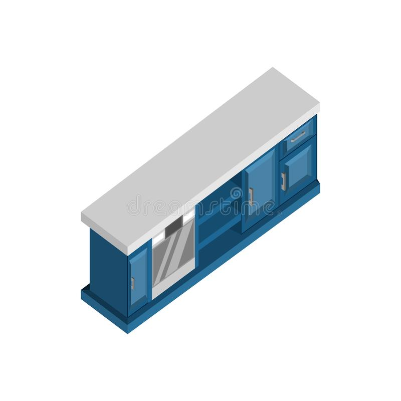 Long Drawer Desk 3D Isometric Furniture Illustration. Long Drawer Desk 3D Isometric Furniture Vector Illustration Graphic Design royalty free illustration