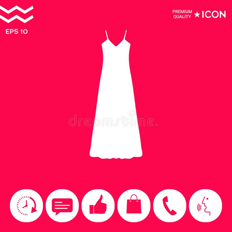 Long Dress, Evening dress, combination or nightie , the silhouette. Menu item in the web design stock illustration