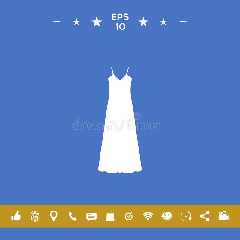 Long Dress, Evening dress, combination or nightie , the silhouette. Menu item in the web design royalty free illustration